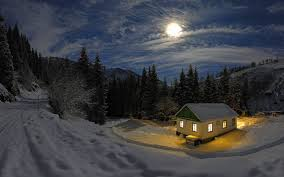 Cabin in the woods during the winter.