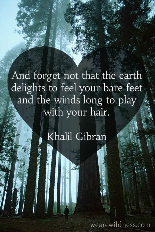 And forget not that the earth delights to feel your bare feet and the winds long to play with your hair. Quote by Khalil Gibran