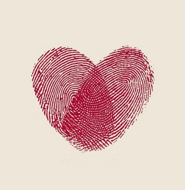 Fingerprints in a heart shape
